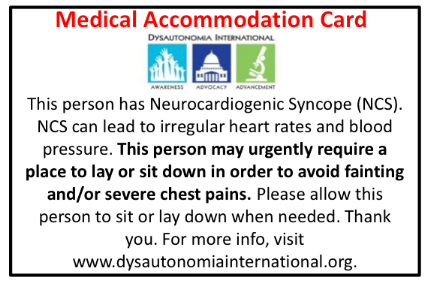 Dysautonomia International Medical Accommodation Wallet Cards For